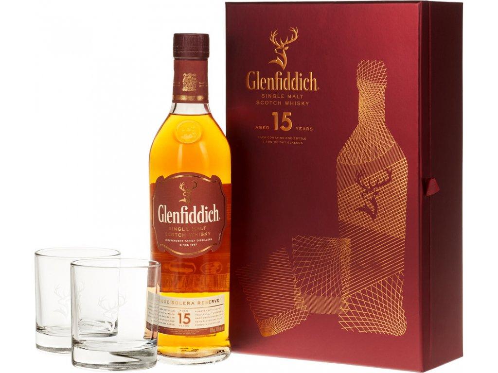 Glenfiddich 15 Y.O. s 2 pohármi