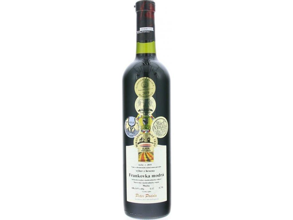 Peter Podola Frankovka modrá, Južnoslovenská oblasť, r2018, víno s prívlastkom-výber z hrozna, červené, suché 0,75L