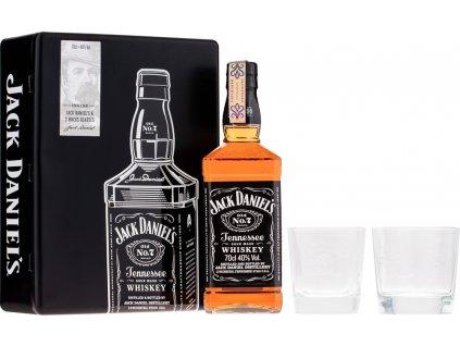 Jack Daniels s 2 pohármi - plechový box