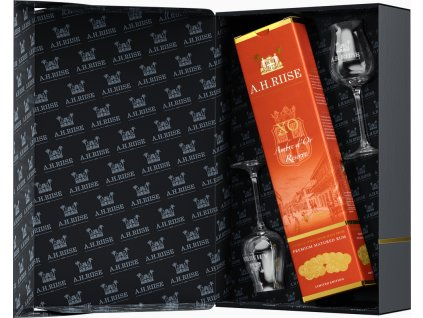 A.H. Riise XO Ambre d'Or + 2 poháre