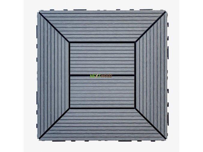 WPC dlaždice 300x300 mm, barva šedá