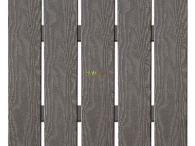 WPC široká plotovka 3D line Nextwood, šedá - výška 80 cm