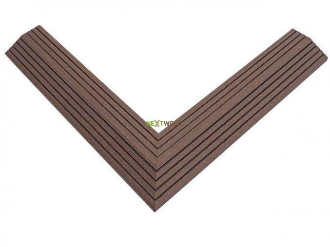 Dvoudílná rohová lišta k WPC dlaždicím, barva wenge (3)