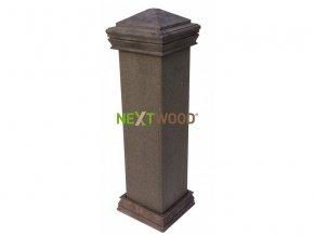 WPC svislý plotový sloupek Nextwood, bez obou krytek, wenge