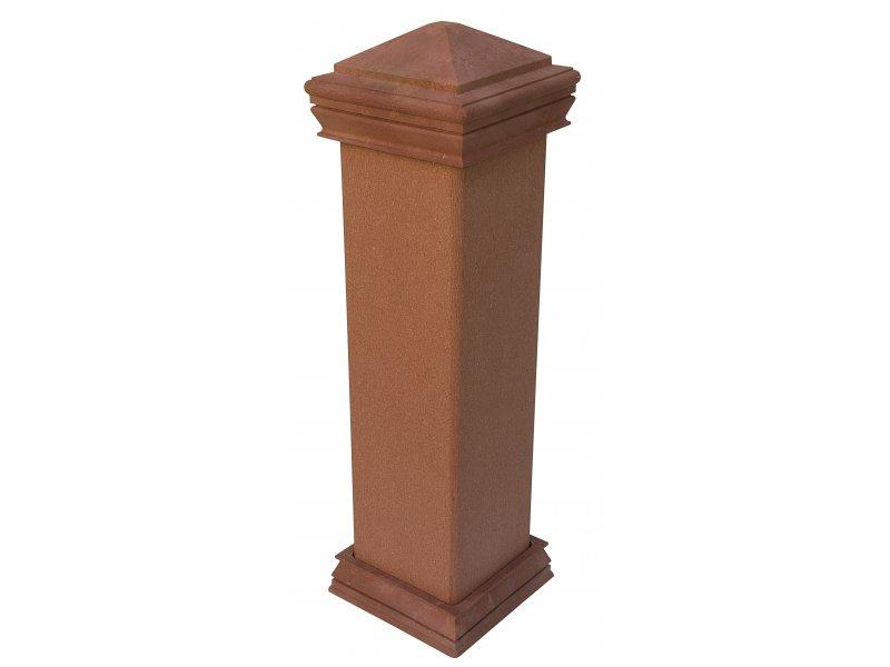 WPC svislý plotový sloupek Nextwood, 1,4 až 2,2 metru, barva třešeň • 128x128x1400-2200 mm Výška: 1,4 metru