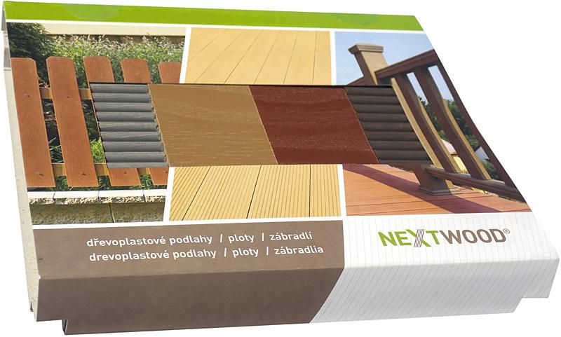 Elegantní vzorník v kartonovém obalu obsahuje vzorky všech čtyř barev podlahových WPC prken Nextwood