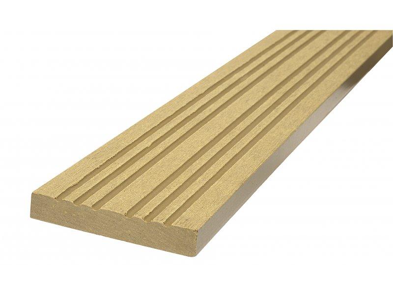WPC podlahová / terasová lemovací lišta Nextwood, barva dub • 70x12x2000 mm • 2050 g • dřevoplast