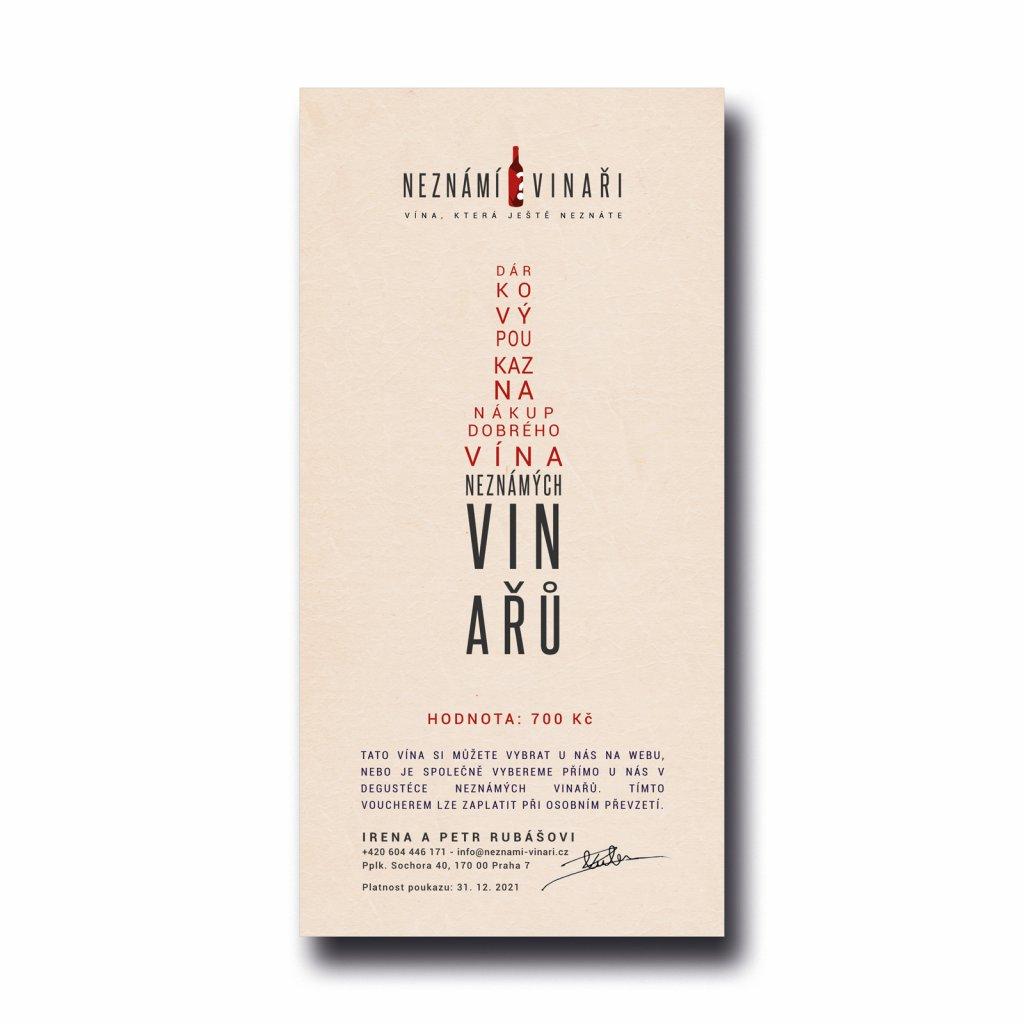 Dárkový poukaz za 700 na nákup vína Neznámých vinařů