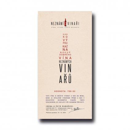 Voucher - dárkový poukaz za 700 na nákup vína Neznámých vinařů