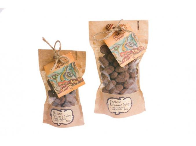 Pražené kakaové boby v hořké čokoládě s mlékem Sumatra 64%