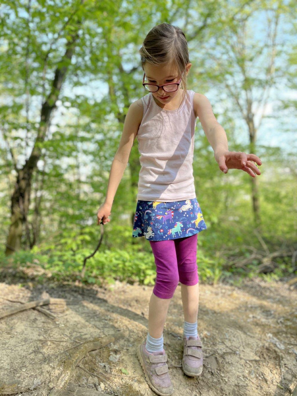 Legíny se sukní 3/4 fialové s jednorožci