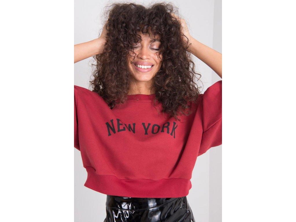 Vínovočervená krátka dámska tepláková mikina New York