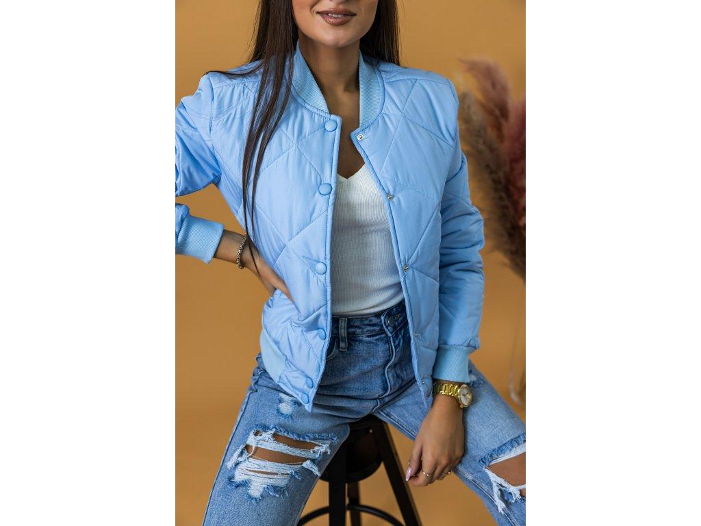 modrá baby-blue dámska bombera bunda do pása prešívaná