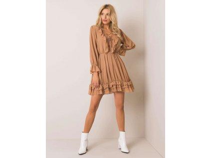 Dámske šaty s volánmi v ťavej farebe Winona