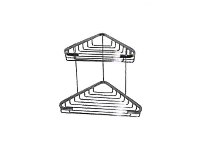 Rohová drátěná chromovaná polička DP-102018