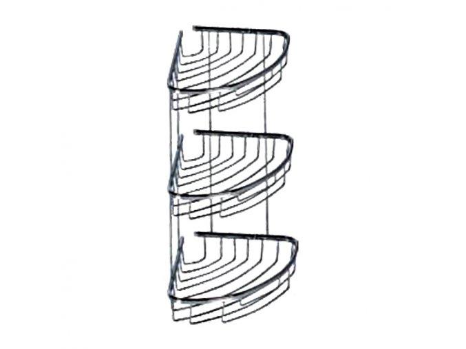 Rohová drátěná chromovaná polička DP-203018