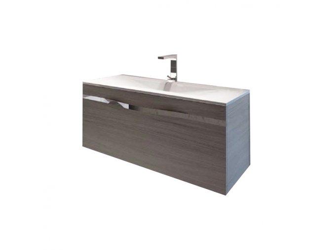 Koupelnová skříňka závěsná s 1 zásuvkou a keramickým umyvadlem Diana 100-1