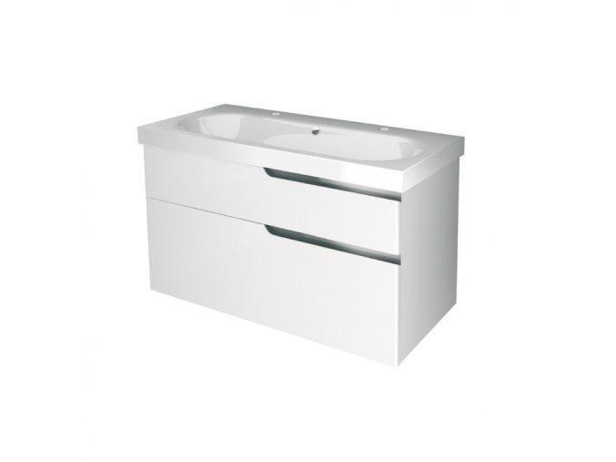 Koupelnová skříňka závěsná, zásuvková s keramickým umyvadlem Ivana 100