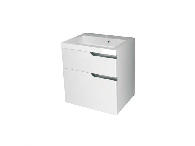 Koupelnová skříňka závěsná, zásuvková s keramickým umyvadlem Ivana 60