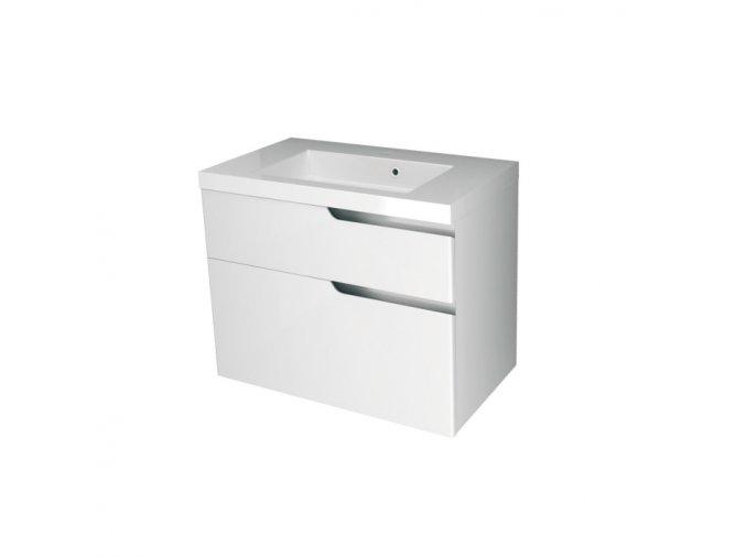 Koupelnová skříňka závěsná, zásuvková s keramickým umyvadlem Ivana 80