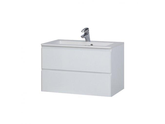 Koupelnová skříňka závěsná zásuvková s umyvadlem z litého mramoru Maroko 80
