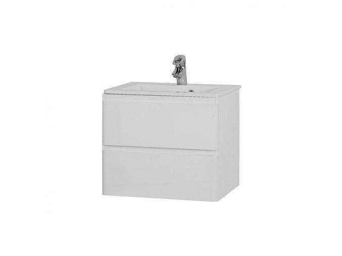 Koupelnová skříňka závěsná zásuvková s umyvadlem z litého mramoru Maroko 60