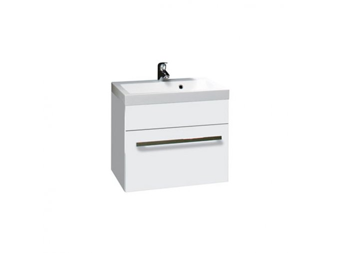 Koupelnová skříňka závěsná zásuvková s umyvadlem z litého mramoru Plaza W 60