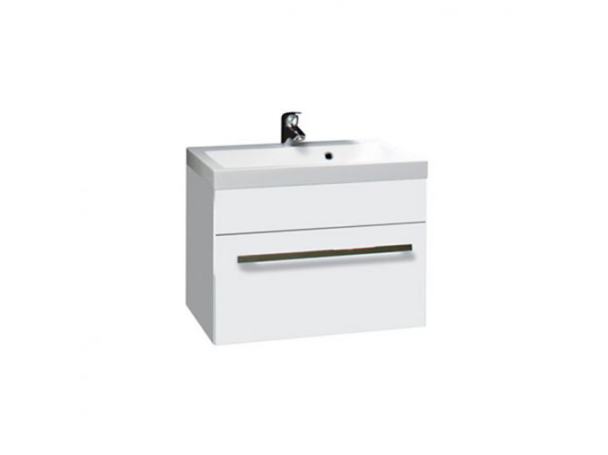 Koupelnová skříňka závěsná zásuvková s umyvadlem z litého mramoru Plaza W 80