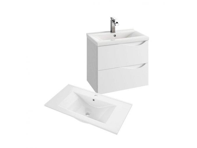 Koupelnová skříňka závěsná zásuvková s keramickým umyvadlem Murcia 60