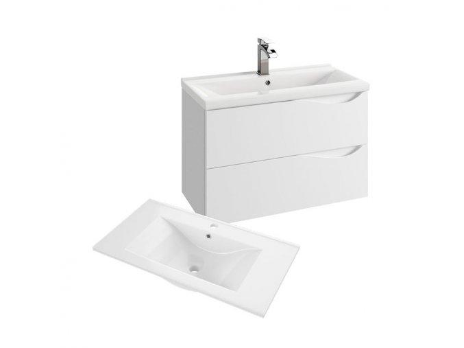 Koupelnová skříňka závěsná zásuvková s keramickým umyvadlem Murcia 75