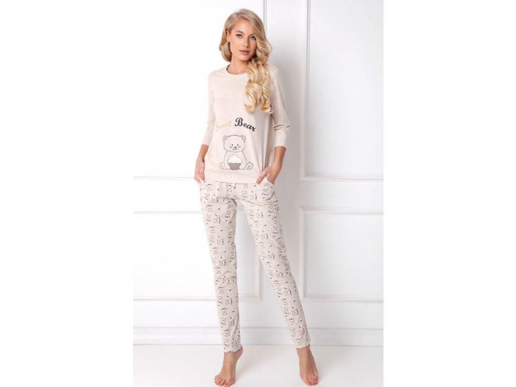 Dámské pyžamo Sweet Bear Long (Barva Béžová, Velikost L)