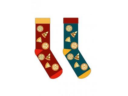 Ponožky PIZZA Krebo (Barva Červená, Velikost 43-46)