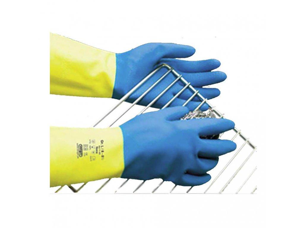 Ochranné rukavice NANO, přírodní latex  + neoprenový latex , semišované (Velikost M - 7)