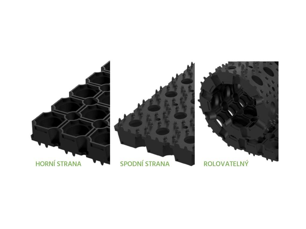 Rohož gumová DOMINO 150 x 100 cm, v. 18 mm