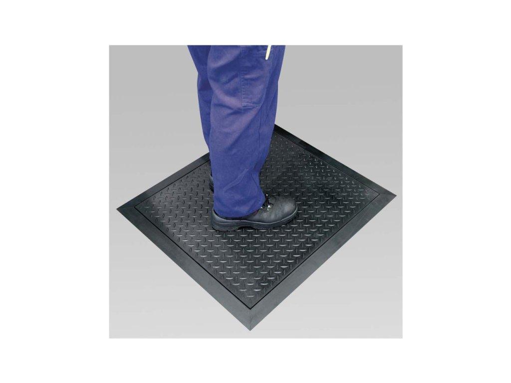 Protiúnavová gumová rohož DIAMANT černá, 80 x 70 cm, v. 12 mm