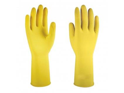 Rukavice gumové domácí PRIMA semišované, délka 30 cm (Barva žlutá, Velikost S - 6)