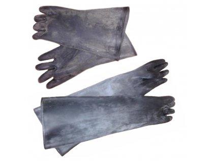 Rukavice gumové technické 600/1,5 (Barva černá, Velikost XL - 10, Typ délka 350 mm,  tloušťka 1,5 mm)