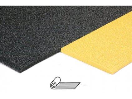 Rohož vinylová protiúnavová JOLLY, různé šíře, tl.9,5 mm, tvrdost 40°Shore Role (Typ černá, žluté dlouhé okraje, Výška mm 9,5, Šířka cm 60)
