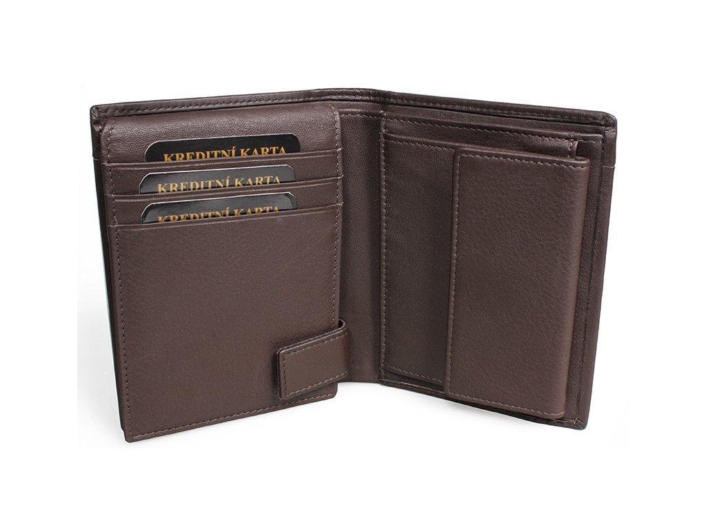 Pánská kožená peněženka Nivasaža N201-PIC-BR hnědá