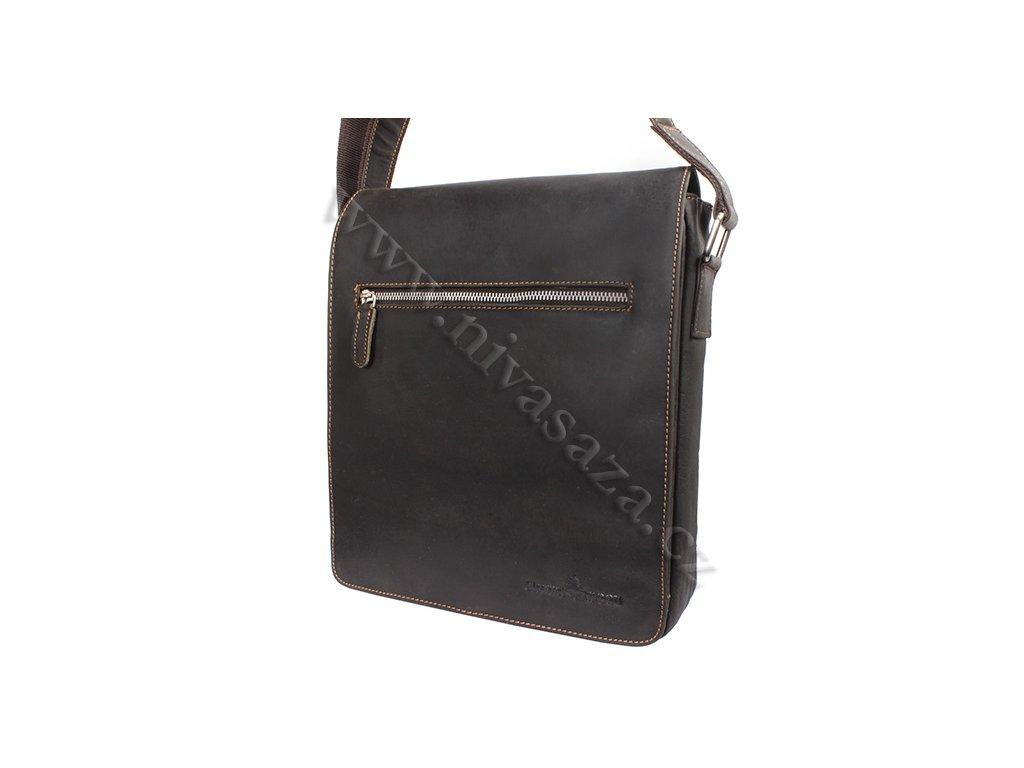 Pánská kožená taška Green Wood 584H-DBR hnědá