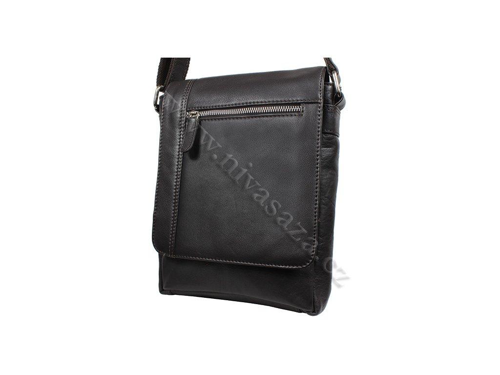 Pánská kožená taška Green Wood 6307A-DBR tmavě hnědá