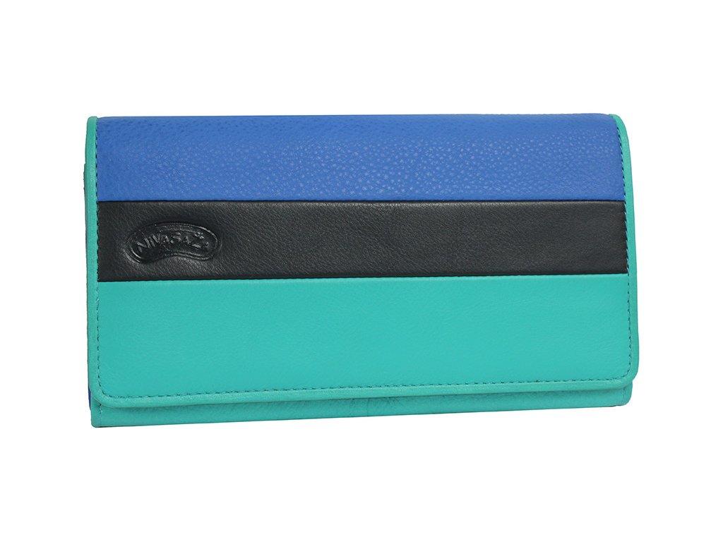 Dámská kožená peněženka Nivasaža N225-FNP-TR tyrkysová