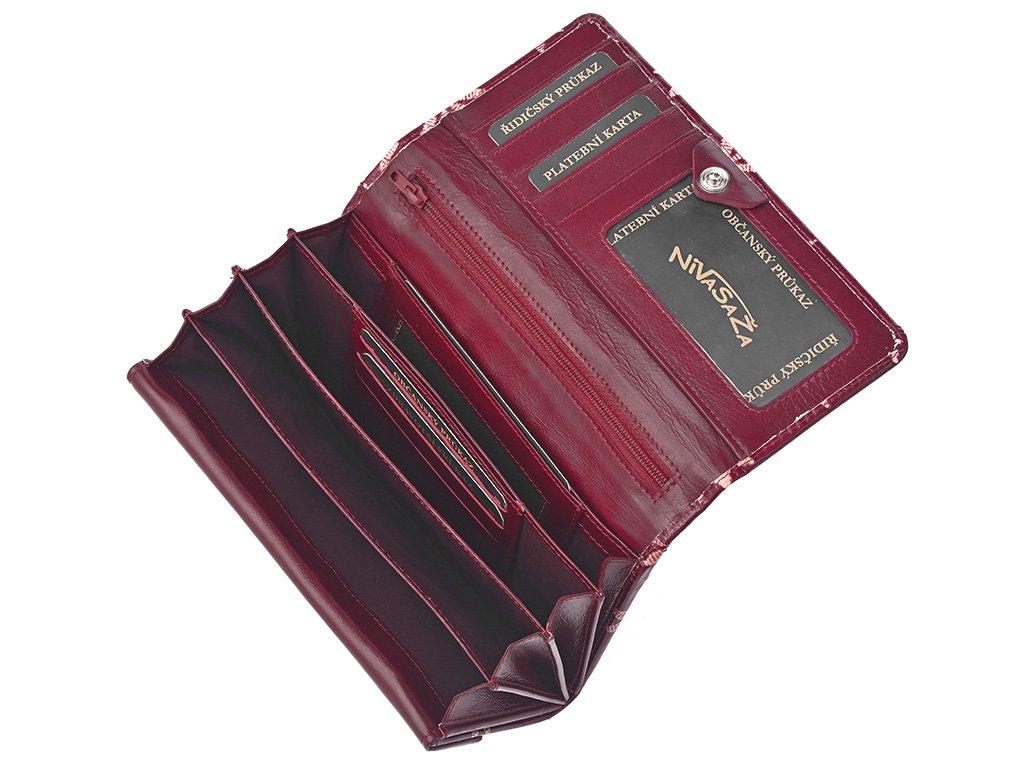 Dámská kožená peněženka Nivasaža N21-SNT-RF červená