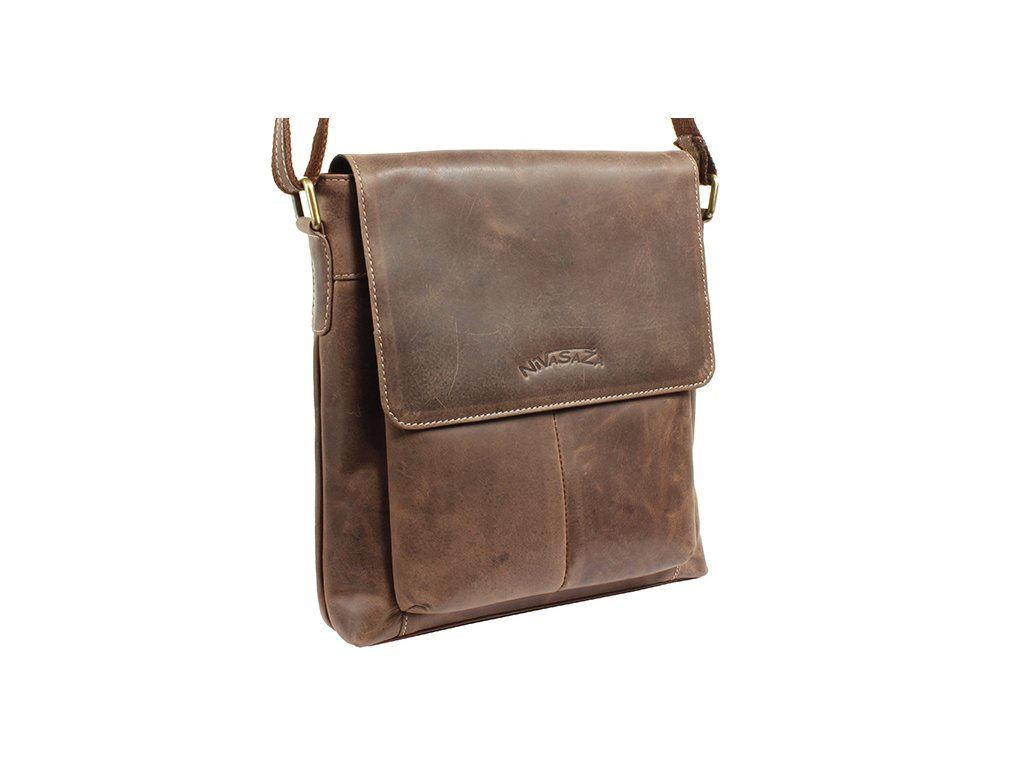 Pánská kožená taška Nivasaža N1301-HNT-BR hnědá
