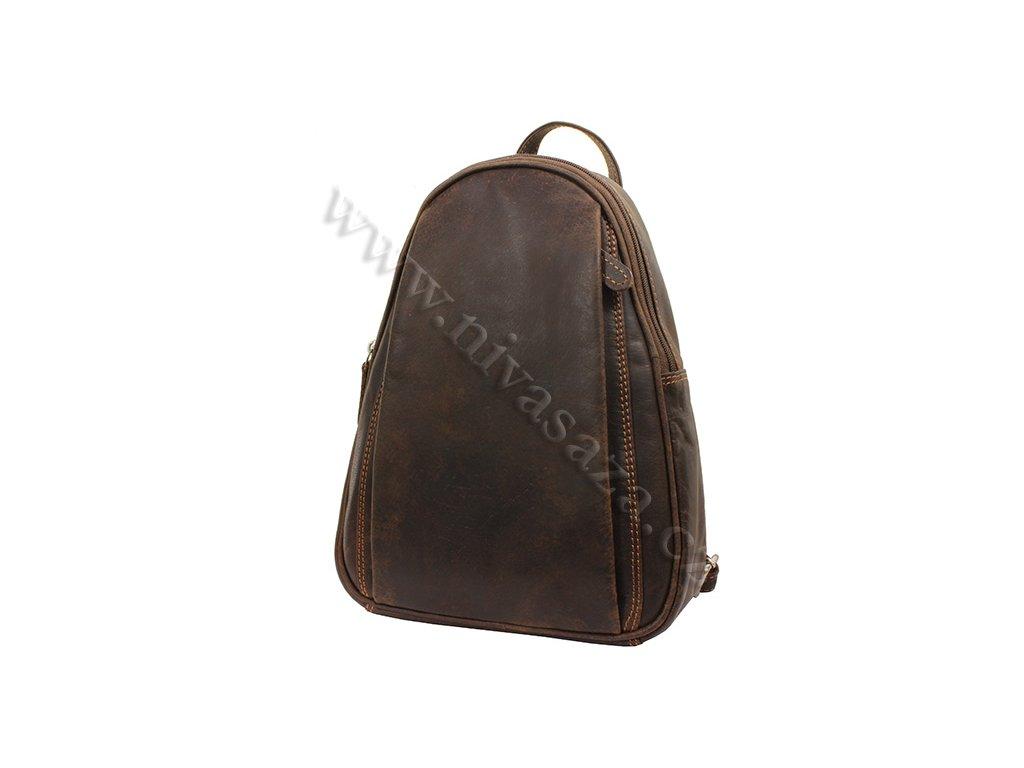 Dámský kožený batůžek Green Wood 12337H-DBR tmavě hnědý