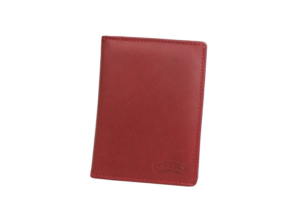 Kožené pouzdro na doklady Nivasaža N30-MTH-R2 tmavě červené