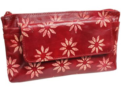 Dámská kožená taštička Nivasaža N23-SNT-RF červená