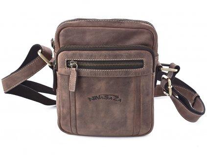 Pánská kožená taška Nivasaža N1001-HNT-BR hnědá