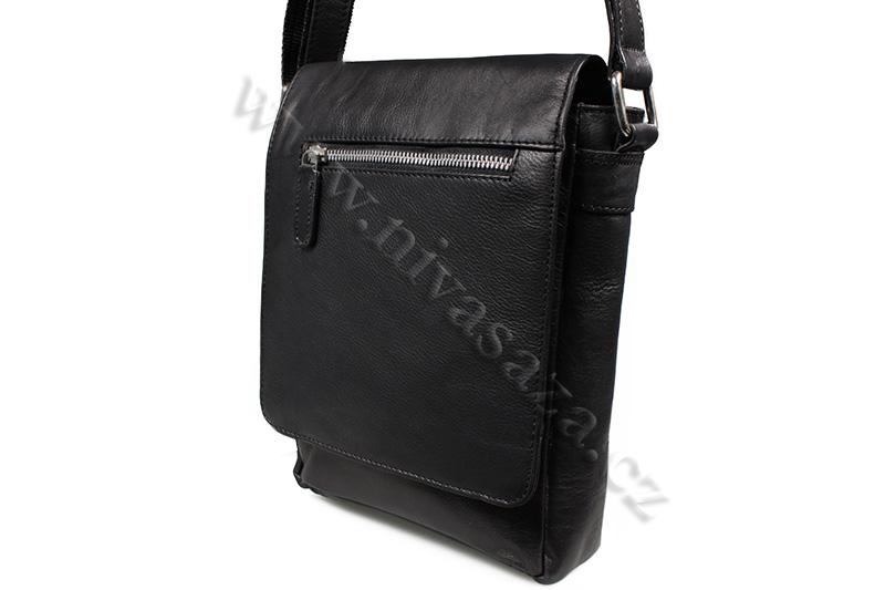 Pánská kožená taška Green Wood 6307A-BLK černá