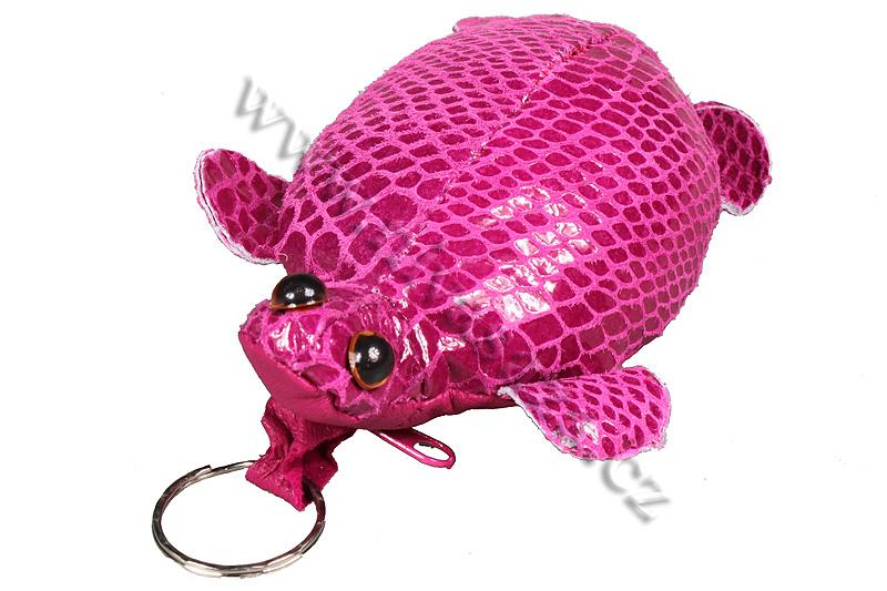 Kožená klíčenka - želvička růžová